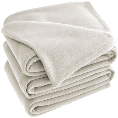 Polar Fleece Blanket Color: Ivory, Size: Queen