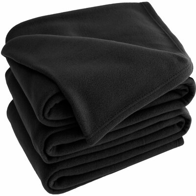 Polar Fleece Blanket Size: Queen, Color: Black