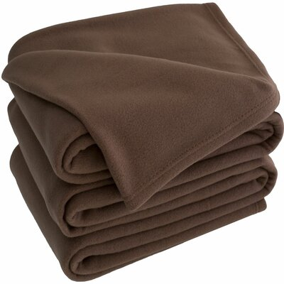Polar Fleece Blanket Size: Twin, Color: Chocolate