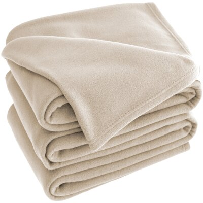 Polar Fleece Blanket Color: Oyster, Size: Queen