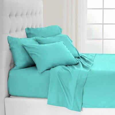 Andes Split King Premium Microfiber Sheet Set Color: Turquoise