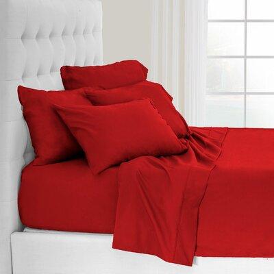 Andes Split King Premium Microfiber Sheet Set Color: Red