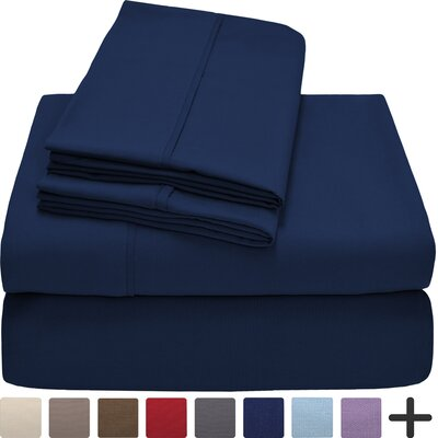 Hadley Premium Ultra Soft 5 Piece Sheet Set Color: Dark Blue, Size: Twin