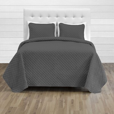 Hewlett Diamond Stitched Coverlet Set - Ultra-Soft Luxurious Lightweight All Season Bedspread Color: Grey, Size: 118 L x 106 W