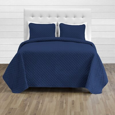 Hewlett Diamond Stitched Coverlet Set - Ultra-Soft Luxurious Lightweight All Season Bedspread Color: Dark Blue, Size: 118 L x 106 W