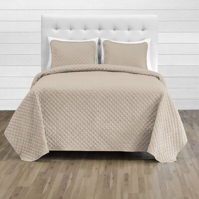 Hewlett Diamond Stitched Coverlet Set - Ultra-Soft Luxurious Lightweight All Season Bedspread Color: Sand, Size: 106 L x 100 W