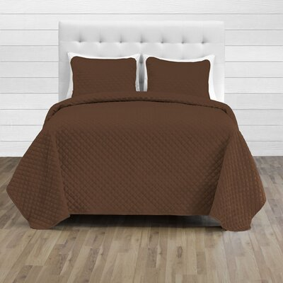 Hewlett Diamond Stitched Coverlet Set - Ultra-Soft Luxurious Lightweight All Season Bedspread Color: Cocoa, Size: 106 L x 100 W