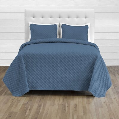 Hewlett Diamond Stitched Coverlet Set - Ultra-Soft Luxurious Lightweight All Season Bedspread Color: Coronet Blue, Size: 118 L x 106 W