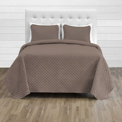 Hewlett Diamond Stitched Coverlet Set - Ultra-Soft Luxurious Lightweight All Season Bedspread Color: Taupe, Size: 118 L x 106 W