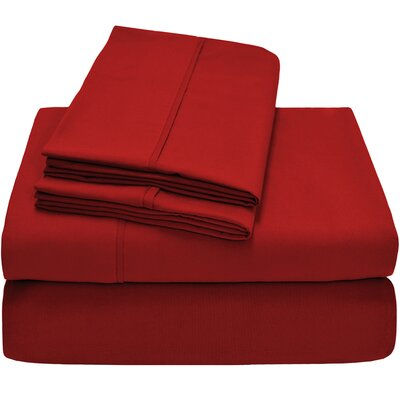 300 Thread Count Egyptian Quality Cotton Twin XL Sheet Set Color: Crimson