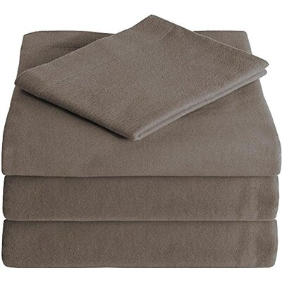 Super Soft 100% Cotton Flannel Sheet Set Size: Queen, Color: Taupe