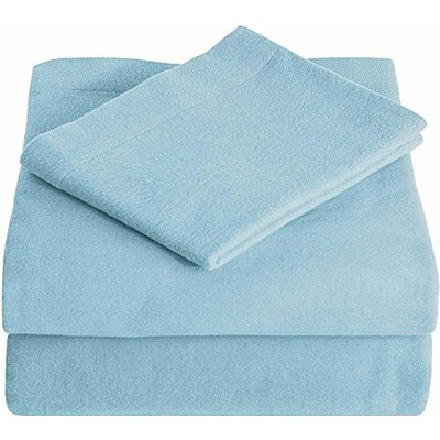 Super Soft 100% Cotton Flannel Sheet Set Size: Split King, Color: Light Blue