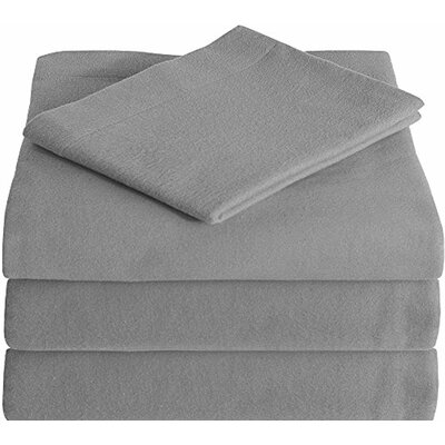 Super Soft 100% Cotton Flannel Sheet Set Size: Split King, Color: Light Grey