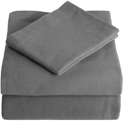 Super Soft 100% Cotton Flannel Sheet Set Size: King, Color: Gray