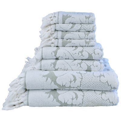 Nysa Floral Ornament Design Knotted Hem Jacquard 8 Piece Towel Set Color: Green