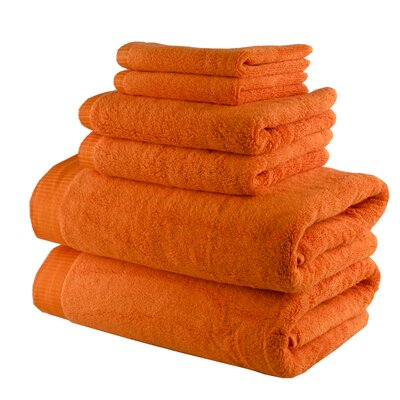 Odessa Cotton 6 Piece Towel Set Color: Bright Orange