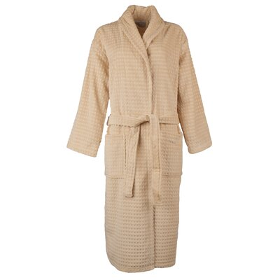 Luxury Waffle Velour Bathrobe Color: Beige, Size: Large/Extra Large