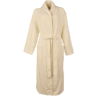 Luxury Waffle Velour Bathrobe Color: Ivory, Size: Medium/Large
