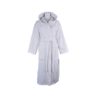 Luxury 100% Turkish Cotton Light-Weight Hooded Terry Bathrobe Size: Small/Medium