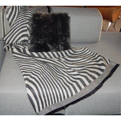 Waves Baby Alpaca Woven Throw Color: Black/Grey