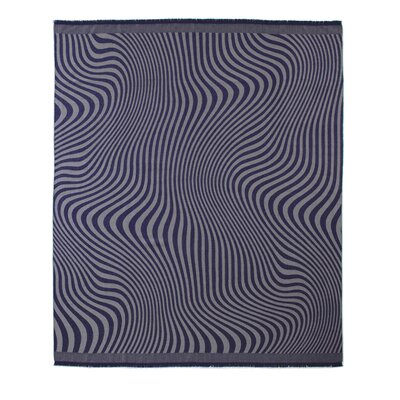 Waves Baby Alpaca Woven Throw Color: Navy/Taupe