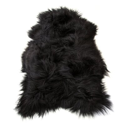Barnabas Long-Haired Hand-Woven Sheepskin Black Brown Area Rug