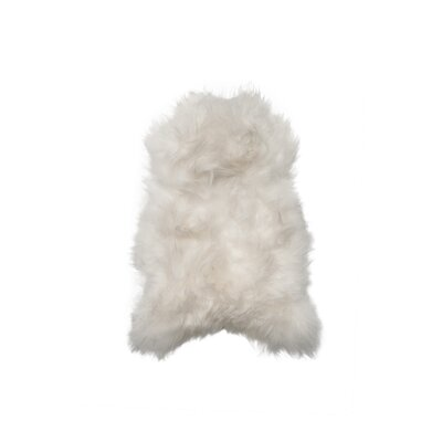 Hansley Long-Haired Hand-Woven Sheepskin White Area Rug
