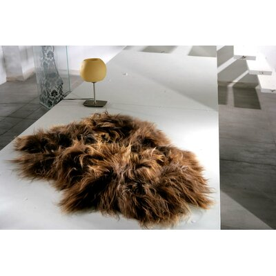 Augustus Long-Haired Hand-Woven Sheepskin Rusty Brown Area Rug