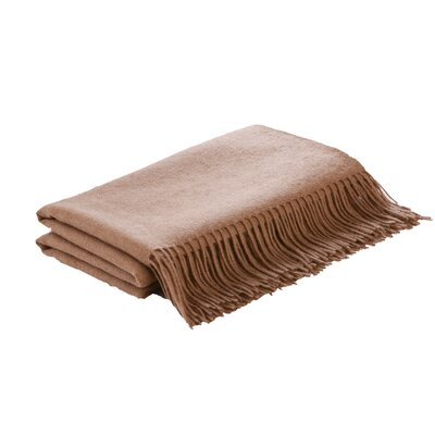 Flat Weave Camel Hair Woven Throw Color: Camel