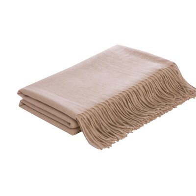 Flat Weave Camel Hair Woven Throw Color: White