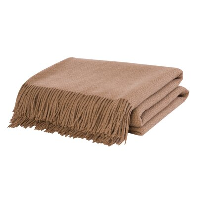 Basket Weave Camel Hair Woven Throw Color: Camel