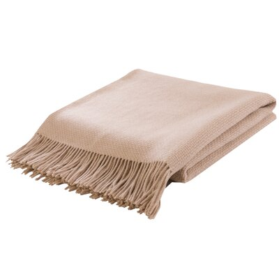 Basket Weave Camel Hair Woven Throw Color: White