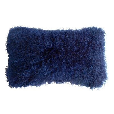 Backed Tibetan Lambskin Lumbar Pillow Color: Cornsilk Blue