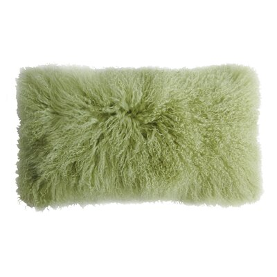 Backed Tibetan Lambskin Lumbar Pillow Color: Leaf