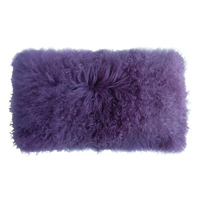 Backed Tibetan Lambskin Lumbar Pillow Color: Lavender