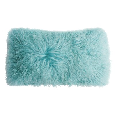 Backed Tibetan Lambskin Lumbar Pillow Color: Robins Egg