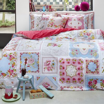Vintage Hankies Duvet Cover Set Color: White/Pink/Blue, Size: Full/Queen