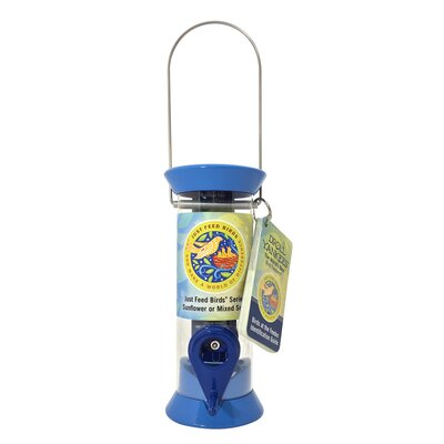 Just Feed Tube Bird Feeder Color: Blue