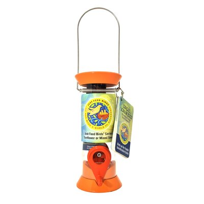 Just Feed Tube Bird Feeder Color: Orange