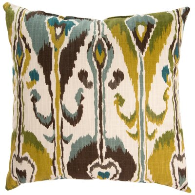 Ikat Bands Cotton Throw Pillow Color: Rain