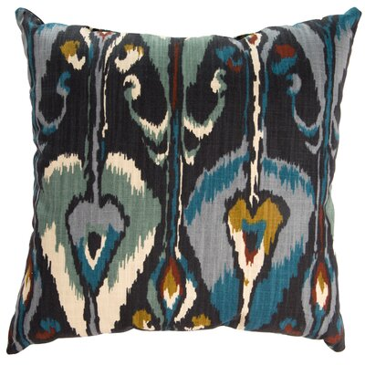 Ikat Bands Cotton Throw Pillow Color: Indigo