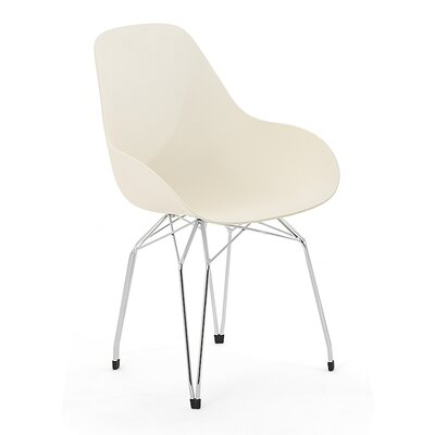 Diamond Dimple Side Chair Base Finish: Chrome, Color: Cream