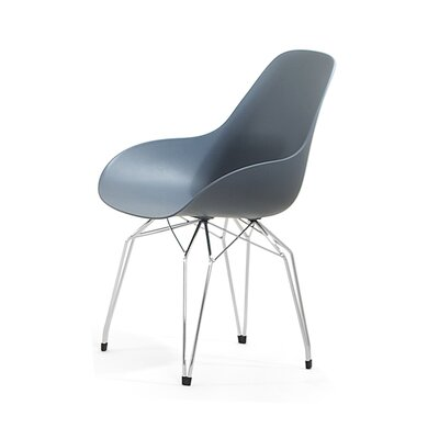 Diamond Dimple Arm Chair Base Finish: Chrome, Color: Dark Grey