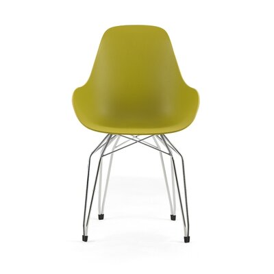 Diamond Armchair Base Finish: Chrome, Finish: Mustard