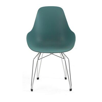 Diamond Dimple Side Chair Base Finish: Chrome, Color: Ocean Blue