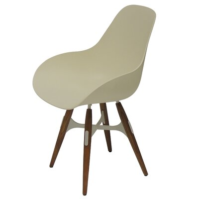 ZigZag Armchair Finish: Walnut, Upholstery: Cream