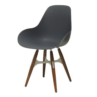 ZigZag Dimple Side Chair Color: Walnut, Color: Dark Grey