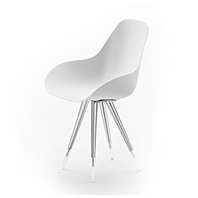 Angel Dimple Side Chair Color: White