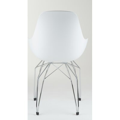Diamond Armchair Base Finish: Chrome, Finish: White