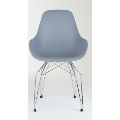 Diamond Dimple Side Chair Base Finish: Chrome, Color: Light Grey